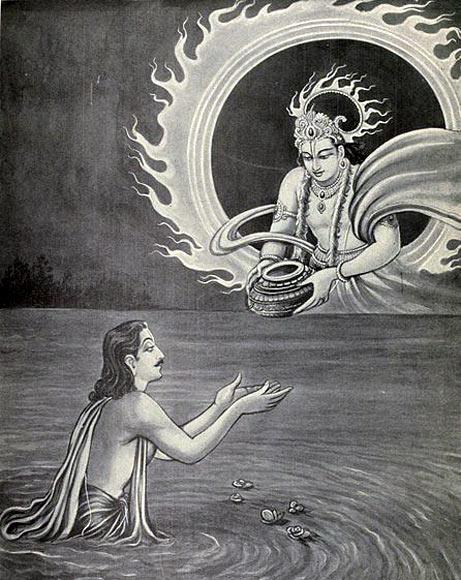 Yudhishthira receives the Akshayapatra from Surya