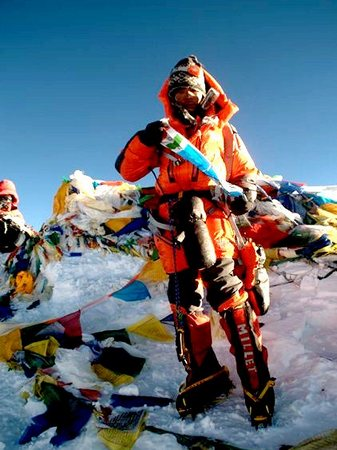 Nameirakpam Chingkheinganba on top of Mount Everest