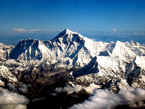 An aerial view of the southern side of Mount Everest