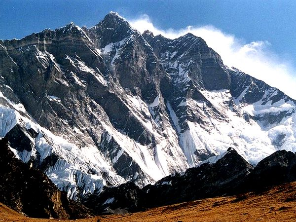 The south face of Lhotse,  fourth highest mountain on earth, as seen from peak Chukhung Ri