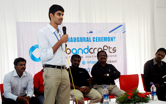 Abin Jose addresses the audience at the launch of Webandcrafts in Thrissur