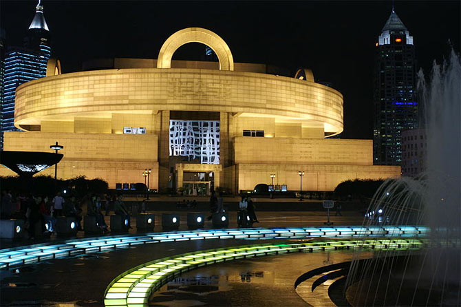 A view of the Shanghai Museum at night in Shanghai, China