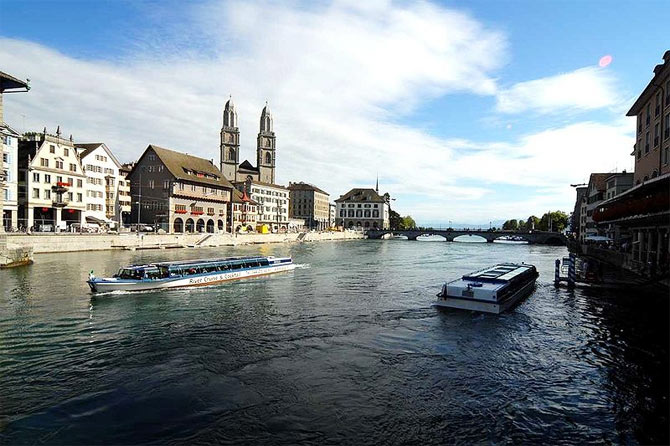 A view of the serene Limmat river of Zurich, Switzerland