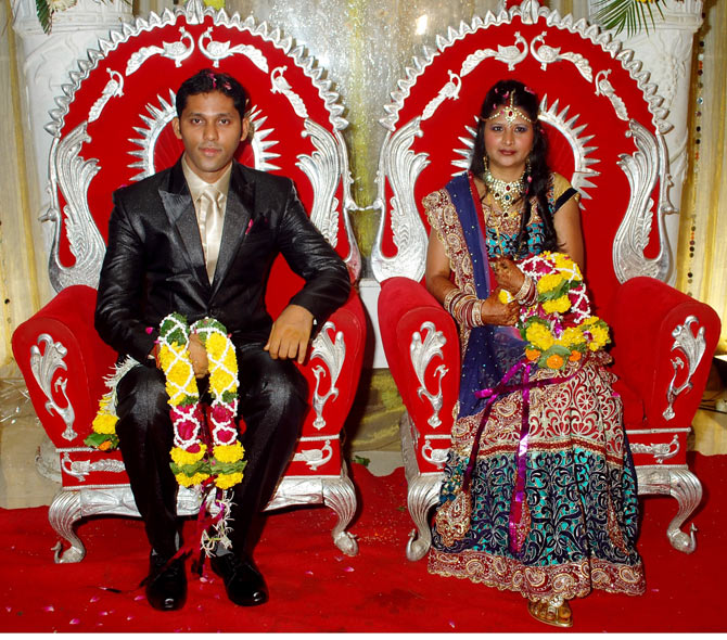 Alvira Dhodi with her husband Satish