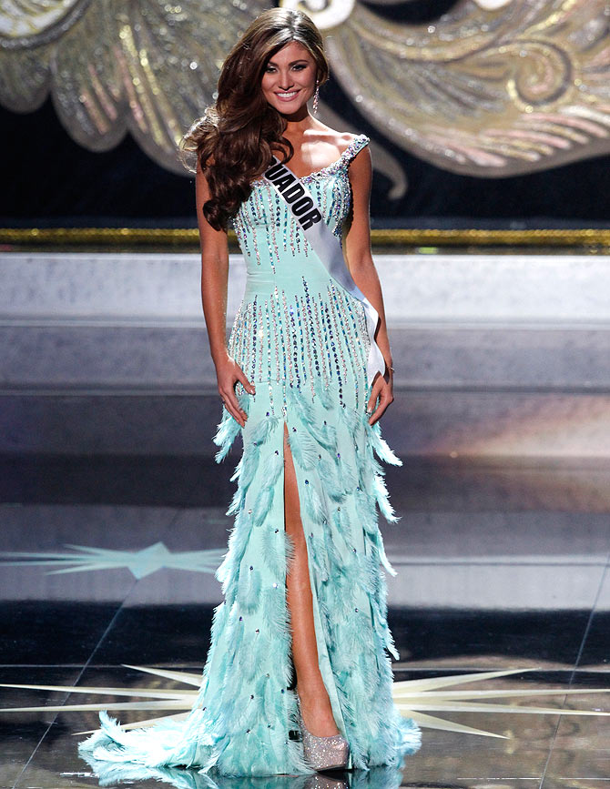 Constanza Baez, Miss Ecuador 2013, competes at the Miss Universe pageant at the Crocus City Hall in Moscow