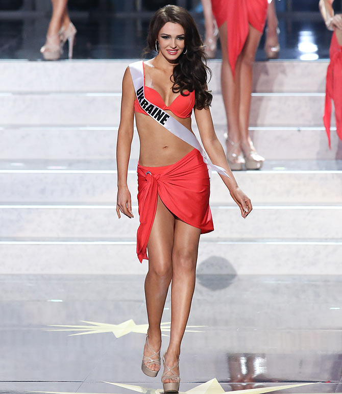 Olga Storozhenko of Ukraine walks the stage during the Miss Universe Pageant Competition 2013.