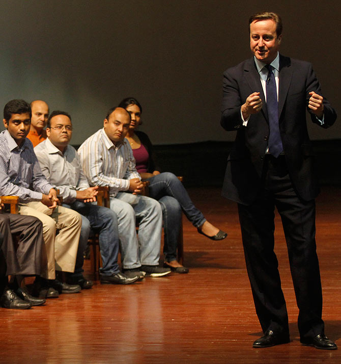 British Prime Minister David Cameron interacts with students at IIM Calcutta