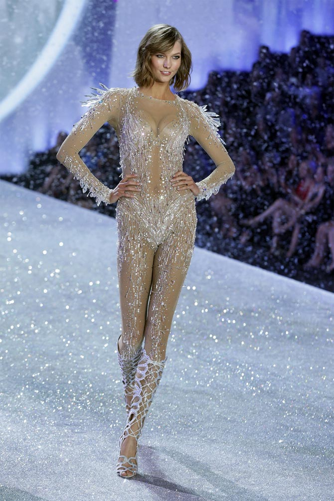 Model Karlie Kloss presents a creation during the annual Victoria's Secret Fashion Show in New York.