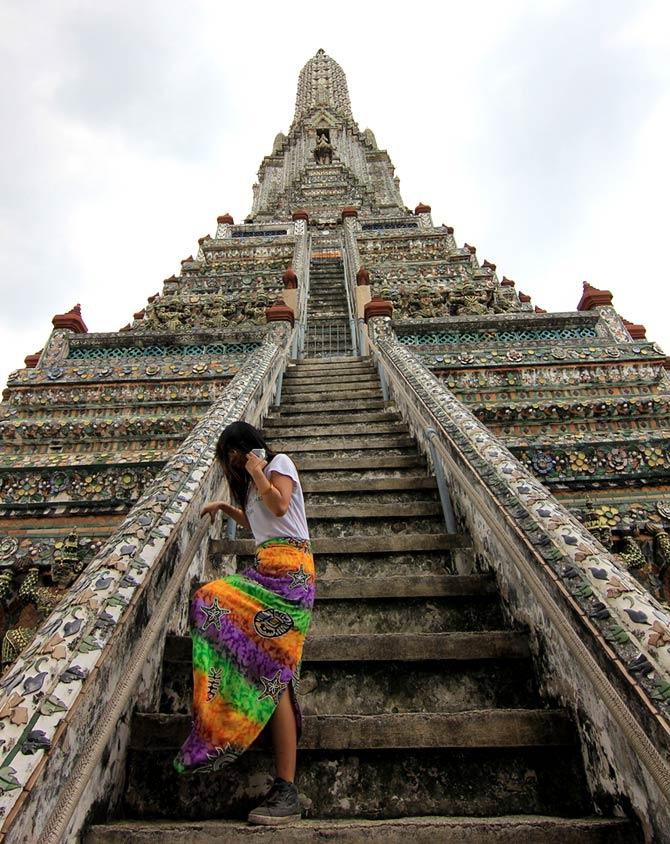 A Girl in her Sarong at Wat Arun, Bangok