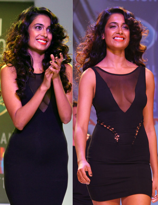 (Left) The dress Sarah Jane Dias walked in and (R) the pattern Bora Aksu made on it.