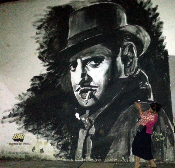 A wall portrait of Hindi film actor Pran at the IIT Bombay campus