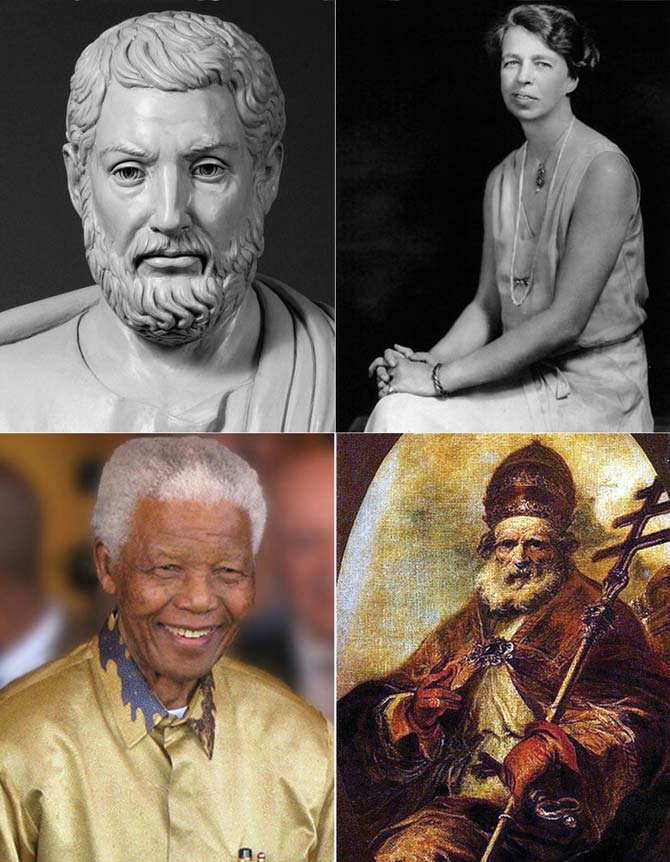 Inspiring leaders (anti-clockwise from top left) Cleisthenes, Nelson Mandela, Pope Leo I and Eleanor Roosevelt