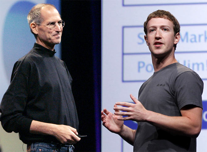 Left: Apple Corporation CEO Steve Jobs speaks about the new iPhone 3G during his keynote speech at the Apple Worldwide Developers Conference in San Francisco, California June 9, 2008; Right: Facebook CEO Mark Zuckerberg delivers his keynote address at the Facebook f8 Developers Conference in San Francisco, California September 22, 2011.