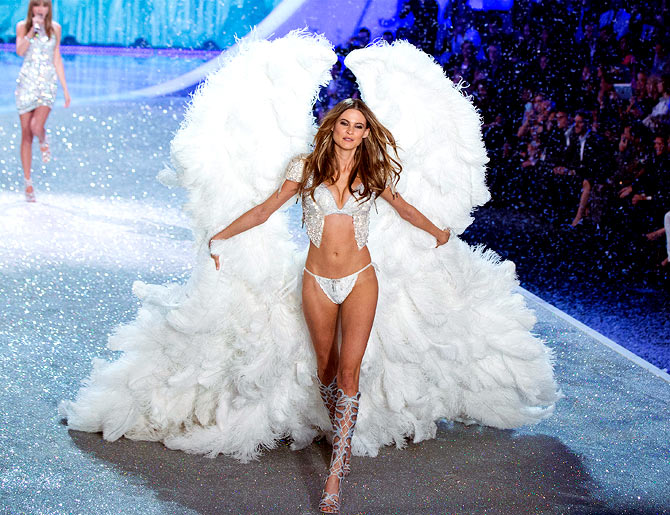 Model Behati Prinsloo presents a creation during the annual Victoria's Secret Fashion Show in New York