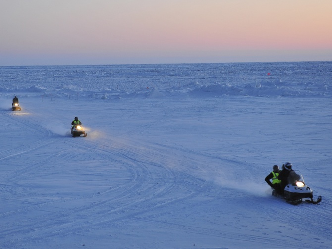 In places where railway lines and airplanes don't reach, snowmobiles are still a reliable mode of transport.