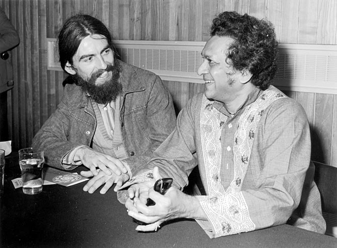 Sitar player Ravi Shankar with his former pupil George Harrison publicising the first ever Indian Festival to be held in Britain.