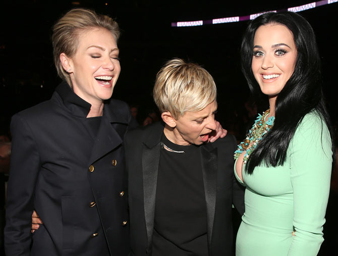 Portia de Rossi, Ellen DeGeneres and Katy Perry