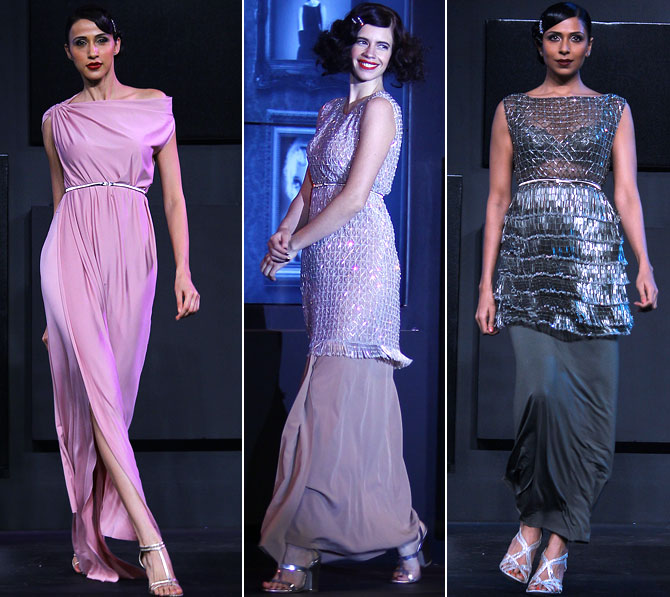 With asymmetric cuts, cylindrical shapes and effective use of the sari-inspired drapes, Neeta Lulla flirts with the '20s and '30s.