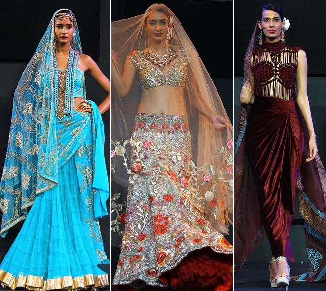 The Suneet Varma collection was shown with voice overs by Farookh Shiekh, singer Radhika Chopra and poets Indira Varma (the designer's mother) and Zehra Nigah.