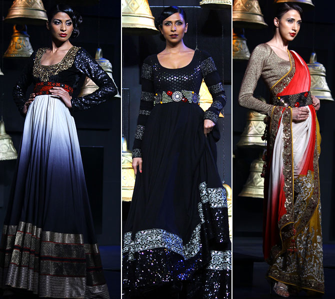 Vikram Phadnis plays up blacks, maroons, golds, beiges, creams and ivories with a hint of embellishment.