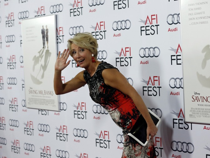 Emma Thompson poses at the premiere of Saving Mr Banks during the opening night of AFI Fest in Hollywood, California.