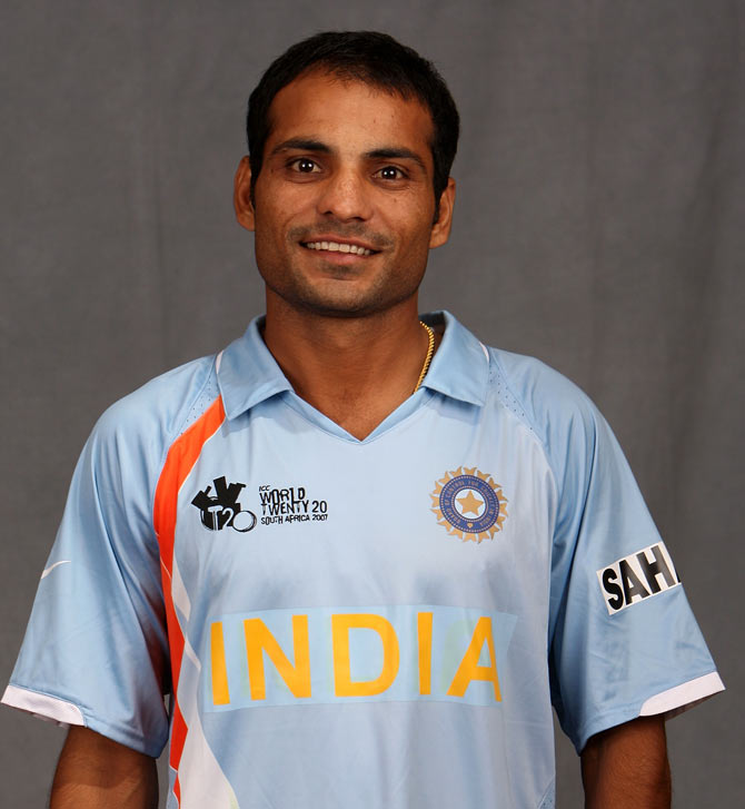 Joginder Sharma of India poses for a photo during a portrait session at the Southern Sun Elangeni Hotel on September 11, 2007 in Durban, South Africa.