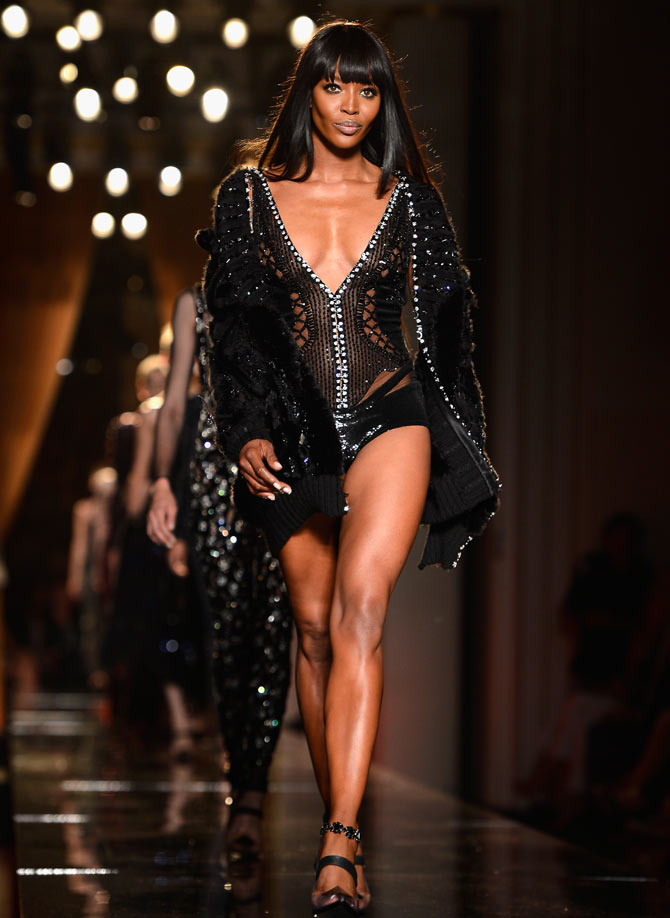 Model Naomi Campbell walks the runway during Versace show as part of Paris Fashion Week Haute-Couture Fall/Winter 2013-2014