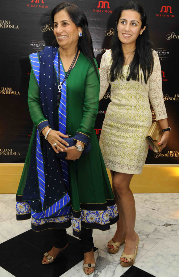 Chanda Kochhar with daughter Aarti.
