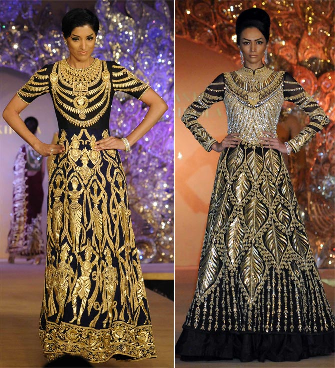 Rich patterns of gold against black make these outfits stand out.