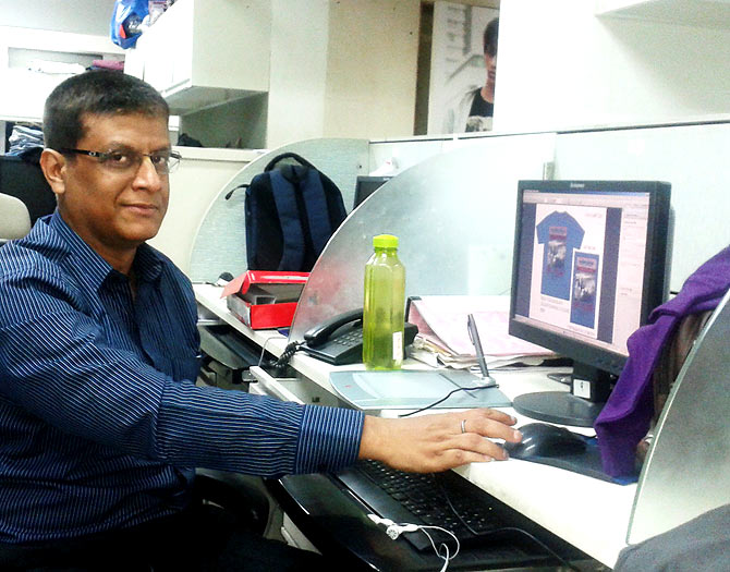 Sanjay Ghosh, senior graphic artiste, Globus at his workdesk