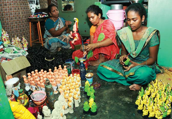 Busy at work: Vasanthi, Revathy and Pavithra start making dolls as early as January