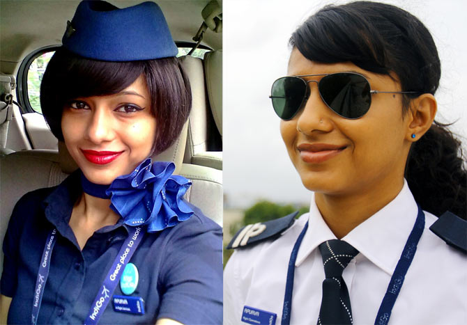 Apurva Gilche, as IndiGo cabin crew and Co-pilot
