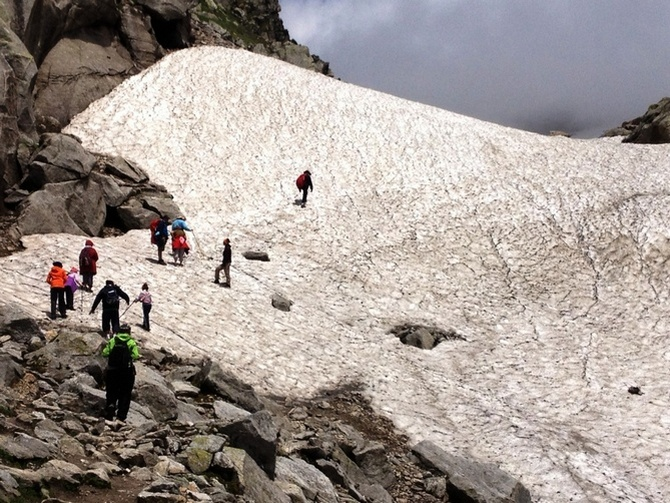 Climbing the glacier to reach Hampta Pass Valley