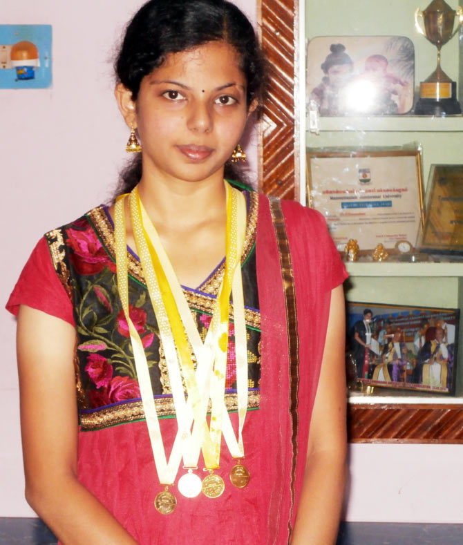 S Alagu is the only topper from Manonmaniam Sundaranar University who has four gold medals to her credit