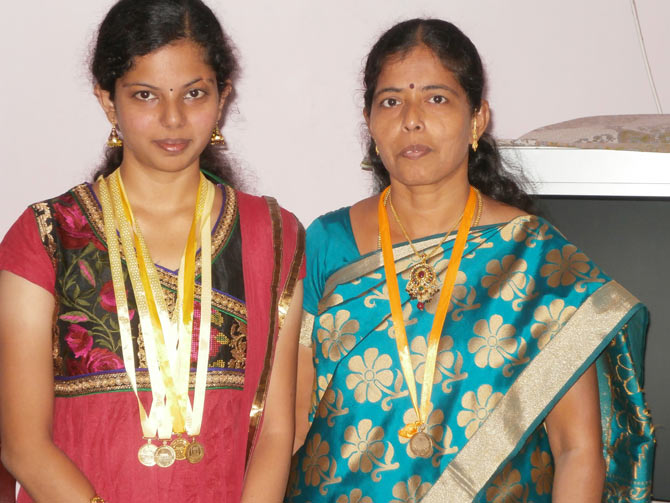 S Alagu with her mother Thangam who has three degrees from Madurai Kamraj University and is also a gold medallist