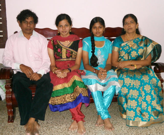 Alagu (second from left) with her father Somasundaram, sister Anandi and mother Thangam