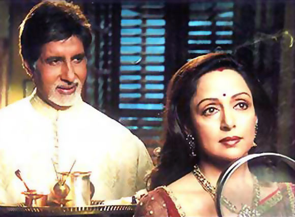 A scene from Baghban where Hema Malini's character fasts for her husband played by Amitabh Bachchan