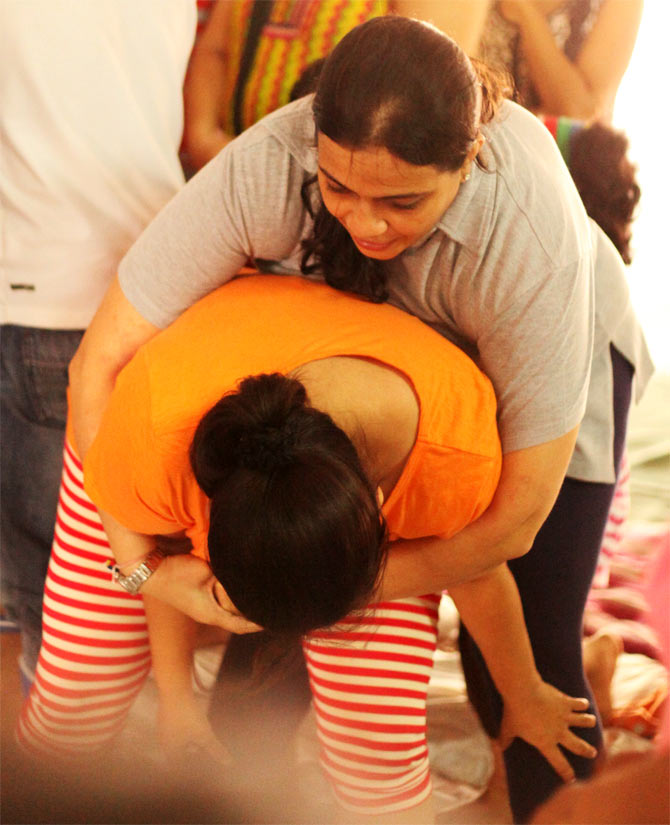 Women learning self-defence techniques at the workshop
