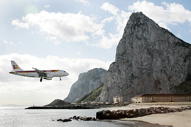 An Iberia aircraft comes in to land during a test at an airport in Gibraltar