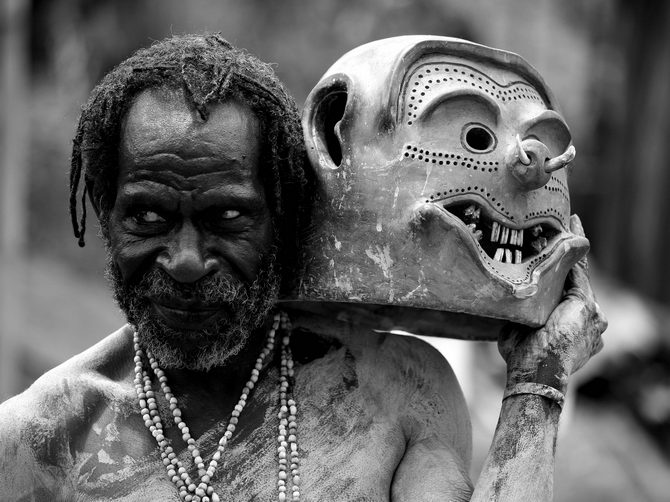 Seen here is An Asaro Mudman from the village of Goroka in the Eastern Highlands Province of Papua New Guinea.