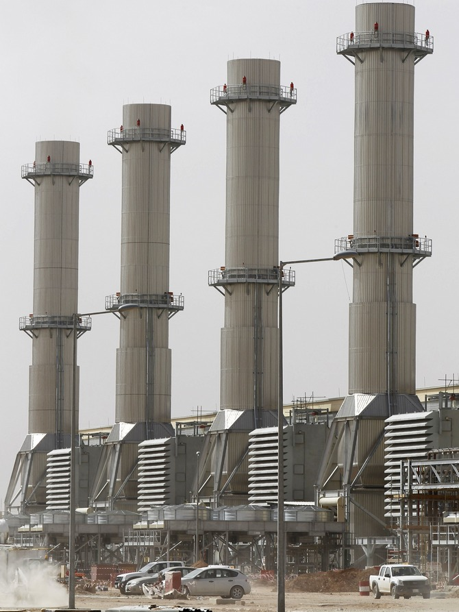 A general view of power plant number 10 at Saudi Electricity Company's Central Operation Area south of Riyadh.