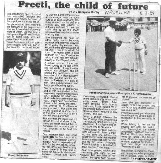 A clipping of a news report on Preeti Srinivasan's achievements