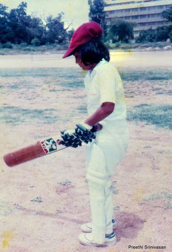Srinivasan playing cricket in her younger days