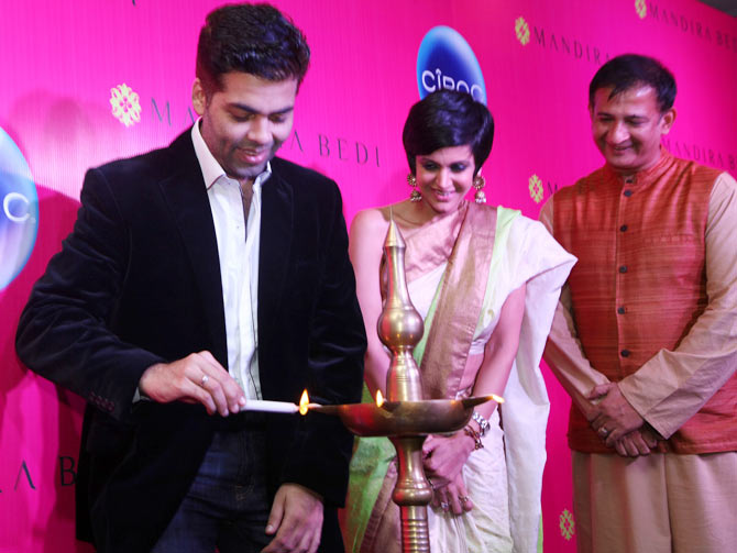 Karan Johar with Mandira Bedi and Raj Kaushal