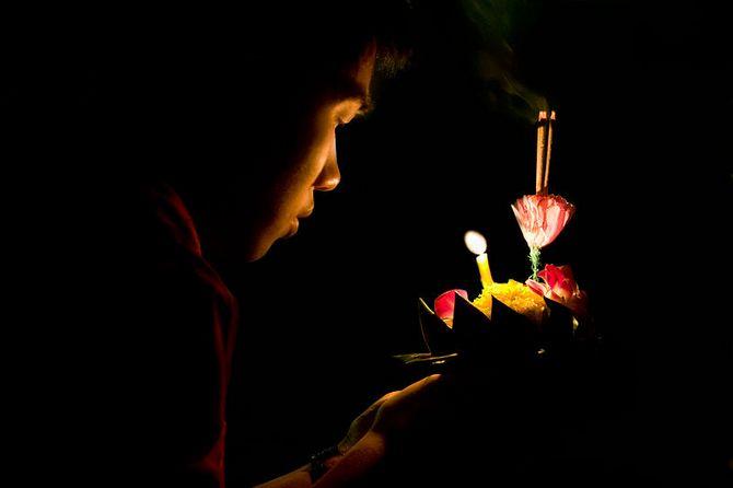 Celebrating Loy Krathong in Lumpini Park, Bangkok, Thailand