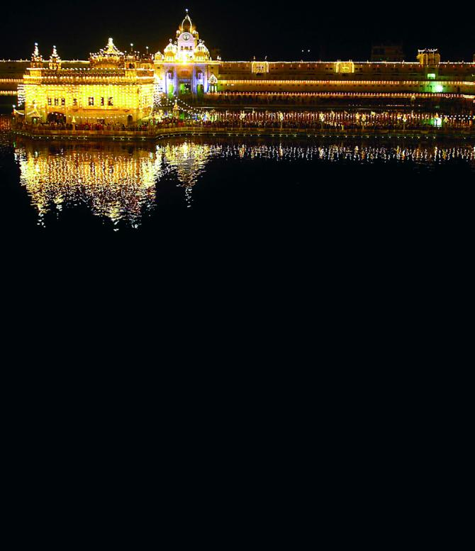 The holy Sikh shrine the Golden Temple, Amritsar, illuminated on the eve of Bandi Chhor Diwas. This Sikh festival coincides with Diwali