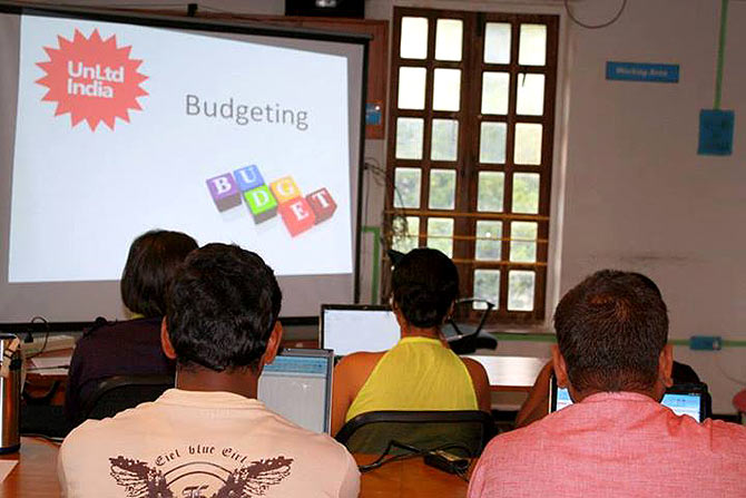 Aspiring entrepreneurs participate in a workshop organised by UnLtd India