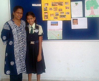 Hiranmayee Singru (in uniform) with her favourite teacher Sofie