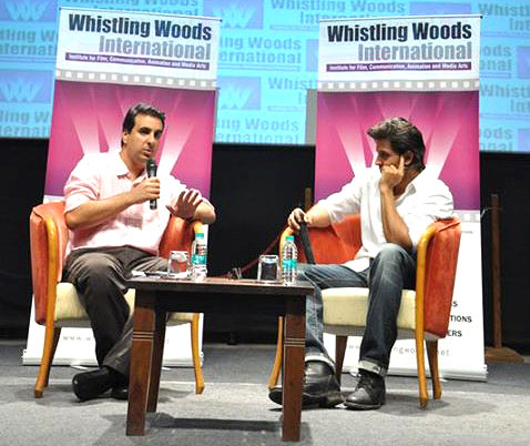 Rahul Puri (left) in conversation with Hrithik Roshan at Whistling Woods International