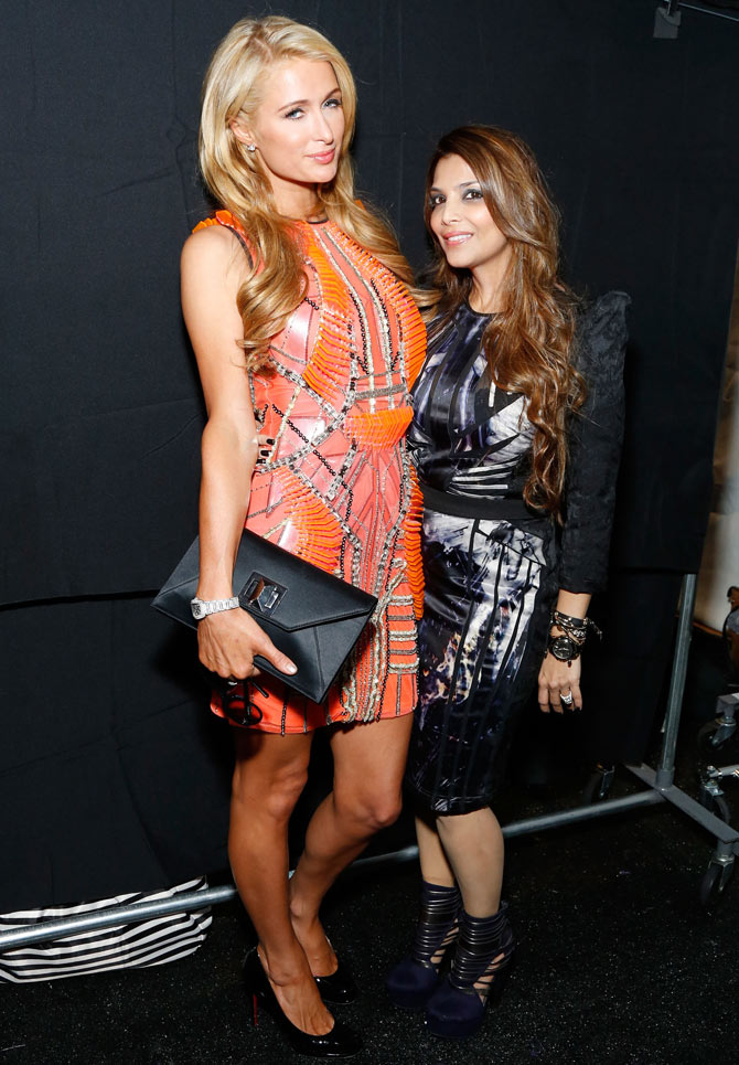 Paris Hilton (L) with Shane Peacock at the New York Fashion Week